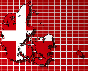 Illustration of a Danish flag with a contour of border