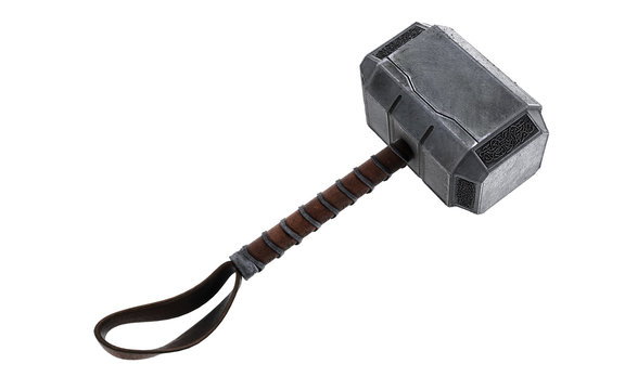Hammer of Thor, Mjolnir 3d Illustration 3d render isolated