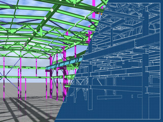 3D model of an industrial building made of metal structures. Abstract background of construction, design, installation and survey. 3D rendering. Blueprint.