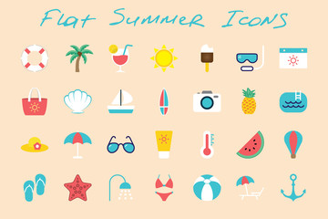Flat summer icons set on color background