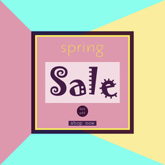 Spring sale banner for online shopping. Minimal logo in frame on geometric layout, art print.