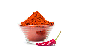 Red pepper powder in a bowl isolated