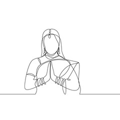 vector continuous line drawing. woman in Indian dress. Namaste sign