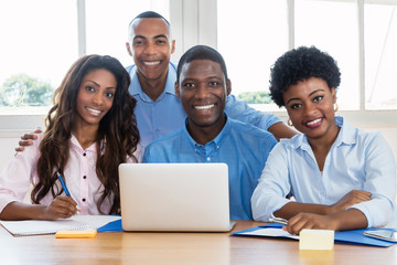 Portrait of african american business team at office