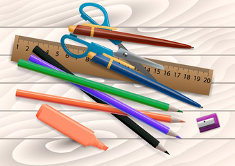 3D Realistic Poster Design in a Blackboard with School Items. Editable Vector Illustration.