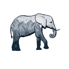 elephant double exposure. Wildlife for your design, outdoors symbol elephant double exposure. Vector graphics to design.