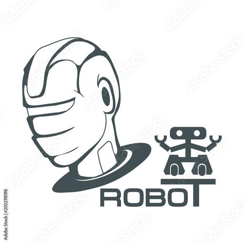 Robotic Face Robot Logo For Design Robotics Vector Graphics To
