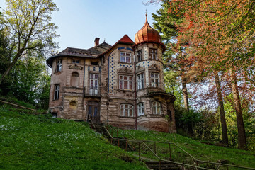 Old abandoned and damaged Panzinka villa in Nachod