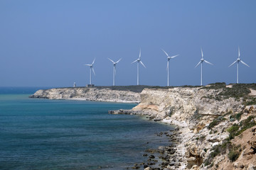 Windmills on Polente Hill in Bozcaada island, Turkey
