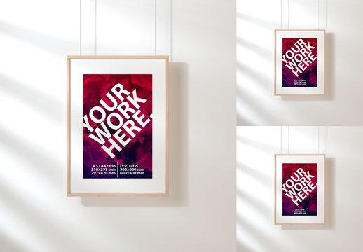 Hanging Wooden Frame Poster Mockup