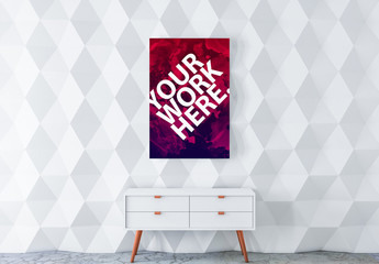 Poster with Contemporary Furniture Mockup