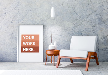 White Framed Poster with Contemporary Furniture Mockup