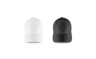 Blank black and white baseball cap mockup set, front view. Clear snap back mock up, isolated. Empty snapback design template. Sport hat accessory model. Head wearing dress presenation