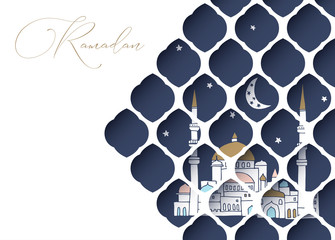Greeting card, invitation for muslim holiday Ramadan Kareem. Hand drawn mosque with moon and stars. View through white cut paper oriental arab pattern. Vector illustration.