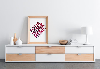 Wooden Frame Poster with Contemporary Furniture Mockup
