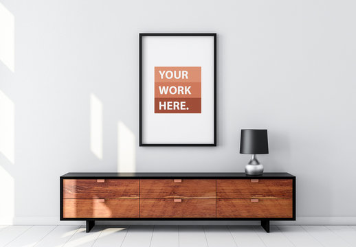 Black Framed Poster with Contemporary Furniture Mockup