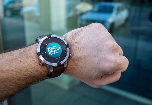 Man Wearing Smartwatch Mockup