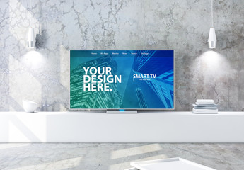Smart TV in Modern Living Room Mockup