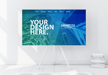 Smart TV on Metal Stand in Modern White Interior Mockup