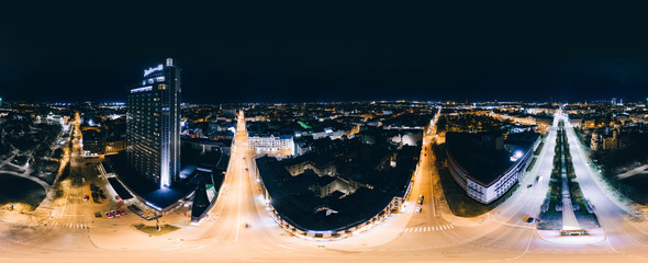 Night Riga city 360 VR Drone picture for Virtual reality, Drone Panorama