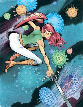 Woman fighting flu viruses