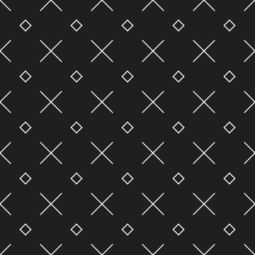 Memphis style seamless vector pattern with X shape and squares. Decorative texture with geometric shapes. Repeated minimal backdrop. Monochrome design elements.