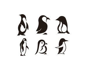 penguin bird animal silhouette set