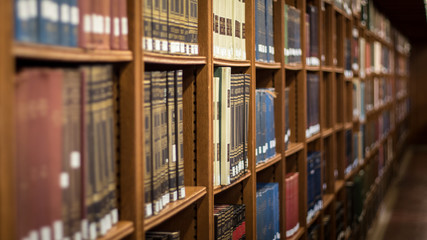 Books on a library shlef