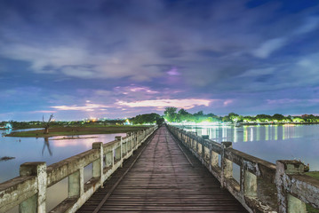 U Bein Bridge, wood structure bridge near Mandalay, peaceful and beautiful site, Myanmar
