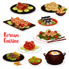 Korean cuisine icon with fish and meat dish