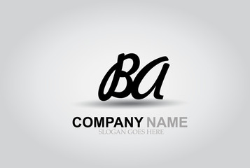 Vector Hand Drawn Letter BA Style Alphabet Font.