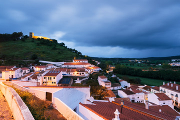 Aljezur, Portugal - April 29: Night view of Aljezur town in Algarve, Portugal