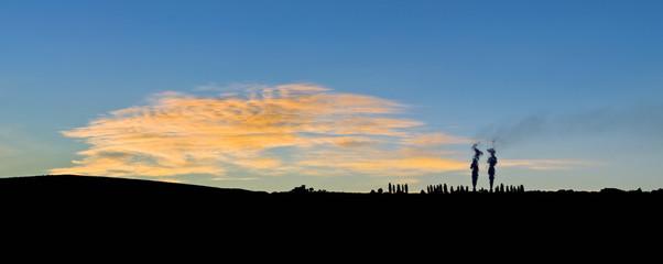 Sunset over a rural landscape