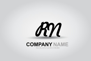 Vector Hand Drawn Letter RN Style Alphabet Font.
