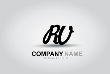 Vector Hand Drawn Letter RV Style Alphabet Font.
