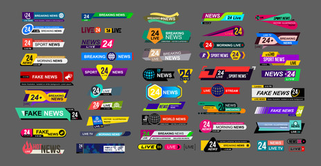 Set of TV news bars. News sign, streaming video. Breaking, fake, sport news. Interface sign. Mockup templates ready for your design. Vector illustration. Isolated on a gray background