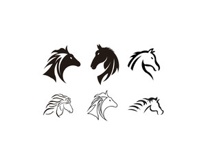 horse animal silhouette set