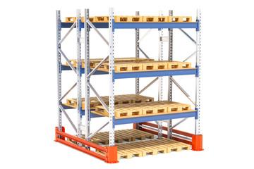 Double pallet rack. 3D rendering