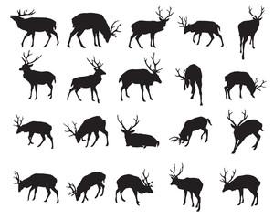 Vector set of deer silhouettes-2