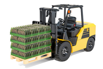 Wooden pallet with glass bottles wrapped in the shrink film on the forklift truck, 3D rendering