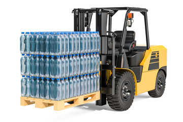 Wooden pallet with water bottles wrapped in the shrink film on the forklift truck, 3D rendering