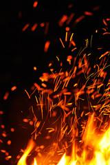 Close-up of sparks against black bakground.