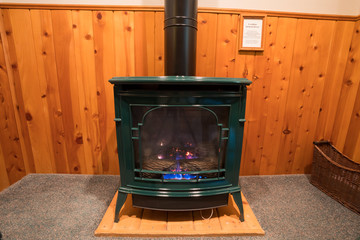 Propane Stove Fireplace in Bedroom