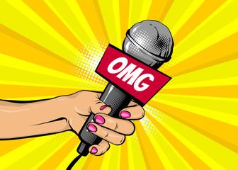 OMG news comic text speech bubble. Woman pop art style fashion. Girl hand hold microphone cartoon vector illustration. Retro poster comimc book performance. Entertainment halftone background.