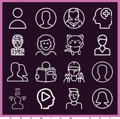 Set of 16 avatar outline icons