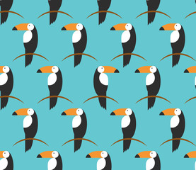 Seamless toucans pattern. Vector tropical background. Toucan icon, Cartoon illustration of toucan vector icon for web in flat style light blue background