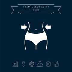 Women waist, weight loss, diet, waistline icon