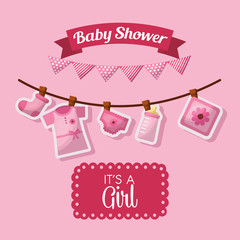 baby shower celebration pink pennants its girl born clothes bottle milk vector illustration