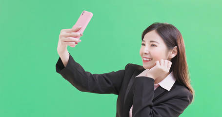 businesswoman selfie happily