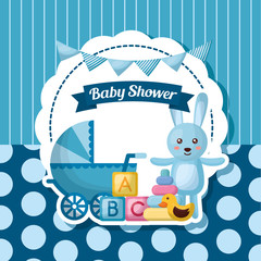 baby shower card blue rabbit babe carriege stripes background toys vector illustration